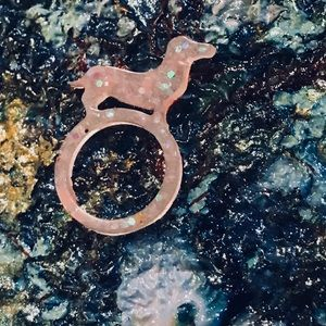 Light pink and sparkly dachshund resin ring